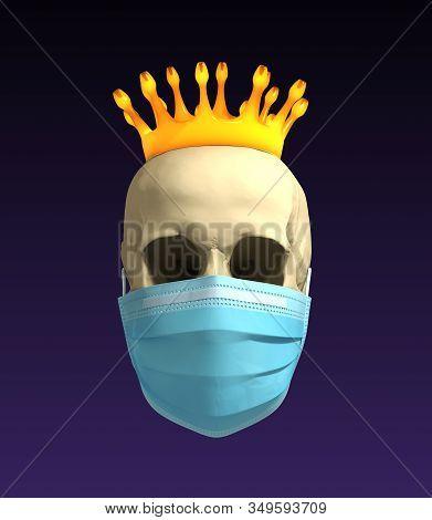 Skull In Medical Mask With Coronavirus Crown. 3d Illustration.