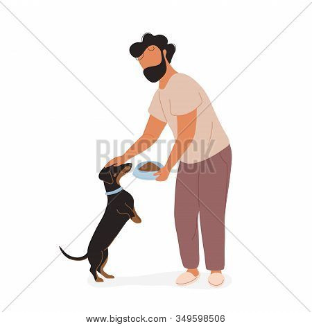 Young Man Feeding Dog And Petting On His Head. Dachshund Begging Near His Owner And Expecting Feedin