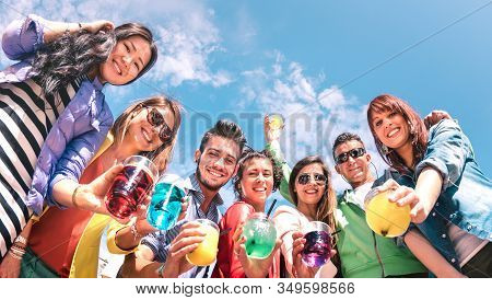 Friends Group Drinking Fancy Cocktails At Summer Beach Party - Young Millennial People Having Fun On