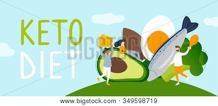 Tiny People With Low Carb Products And Keto Diet Lettering. Flat Modern Trendy Style.vector Illustra