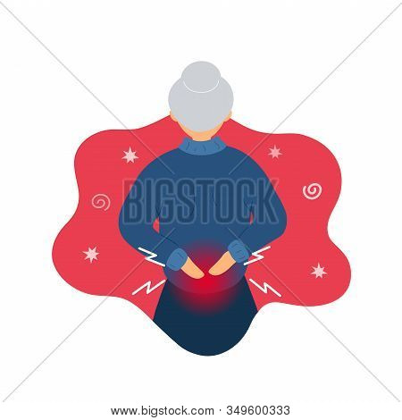 Old Woman With Backache Problems Standing Back Face. Flat Modern Trendy Style. Vector Illustration C
