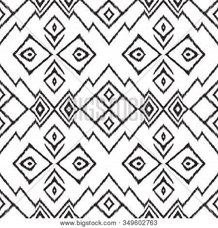 Black And White Handmade Tribal Vector Seamless Pattern. Stripe Batik Ethnic Texture. Aztec Repeat W