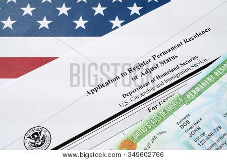 I-485 Application To Register Permanent Residence Or Adjust Status Form And Green Card From Dv-lotte
