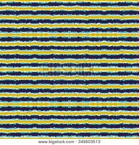 Cobalt Drawn Line Vector Seamless Pattern. Cloud Trendy Stripe Scandinavian Design. Paper American P