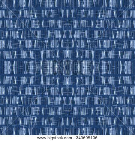 Cornflower Stripe Trendy Vector Seamless Pattern. Scandinavian Brush Strip Print. Drawn American Ill