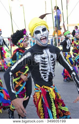 Barranquilla - Feb 10: Carnaval Del Bicentenario 200 Years Of Carnaval. Once A Year Colombia Hold Th