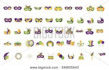 Set Of Mardi Gras Icons - Vector Illustration