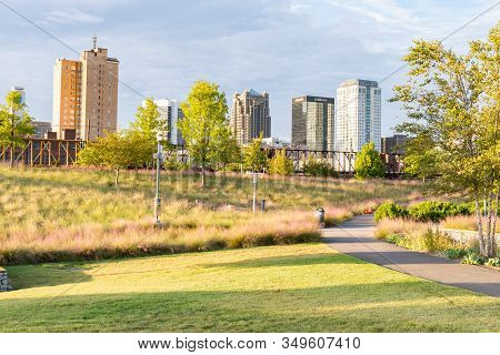 Birmingham, Al - October 7, 2019: City Skyline Of Birmingham From Railroad Park