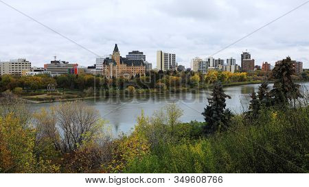 A View Of Saskatoon, Canada Skyline By River