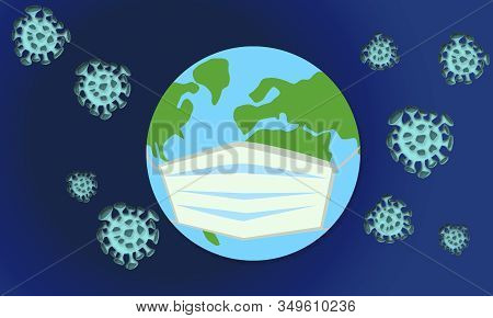 Earth With Virus Protection Mask. 3d Rendering