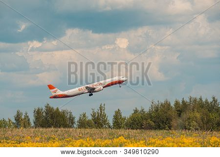 Domodedovo, Russia - May 12, 2019: Red Wings Airbus A321-231 Side Number Vp-brb Airlines Take Off At