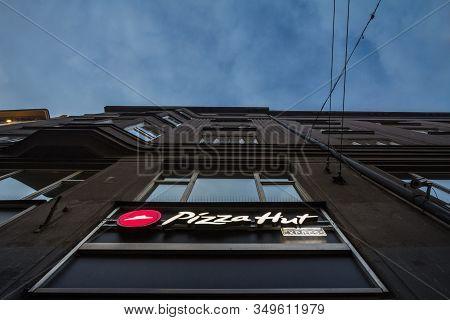 Prague, Czechia - November 2, 2019: Pizza Hut Logo In Front Of Their Local Restaurant In Prague. Piz