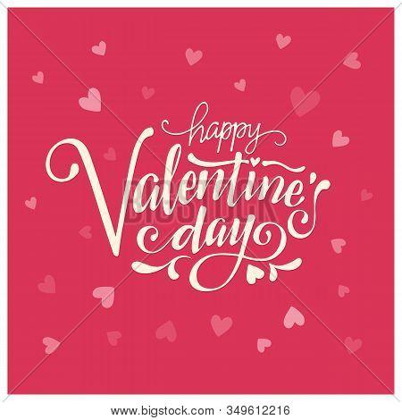 Valentines Day Card Design Set. Heart Confetti Background. Valentine Petals Falling On White Backgro