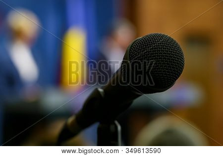 Bucharest, Romania - January 08, 2020: A Microphone Of A Romanian Television Is Seen Before A Press