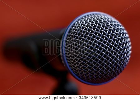 Bucharest, Romania - January 22, 2020: A Microphone Of A Romanian Television Is Seen Before A Press