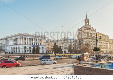 Kiev, Ukraine - January 03, 2020: Walk In The Center Of Kiev, Independence Square, Khreshchatyk Stre