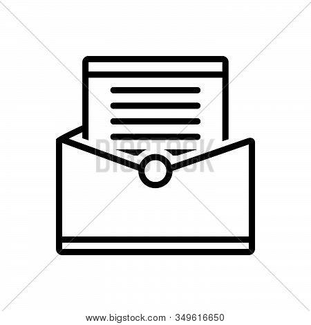 Black Line Icon For Letter Communication Messages Tidings Paper Text Scenarios Script Document Manus
