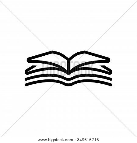 Black Line Icon For Open-book Open Book  Magazine Textbook Publication Encyclopedia Magazine Textboo