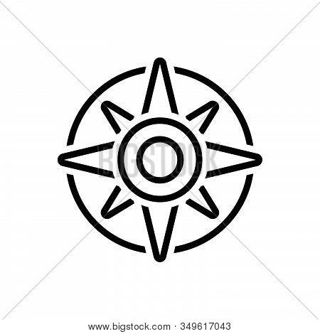 Black Line Icon For Compass Explore Orienteering Nautical Equipment Instrument Navigation Adventure