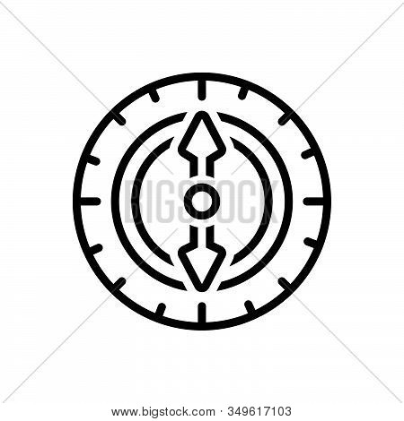 Black Line Icon For Compass Orienteering Nautical Equipment Instrument Navigation Adventure Discover