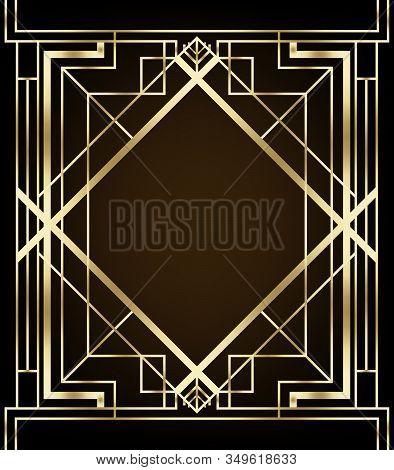 Art Deco Vintage Patterns And Design Elements. Retro Party Geometric Background Set 1920s Style. Vec