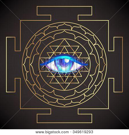 All Seeing Eye. Sri Yantra Or Sri Chakra, Form Of Mystical Diagram, Shri Vidya School Of Hindu Tantr