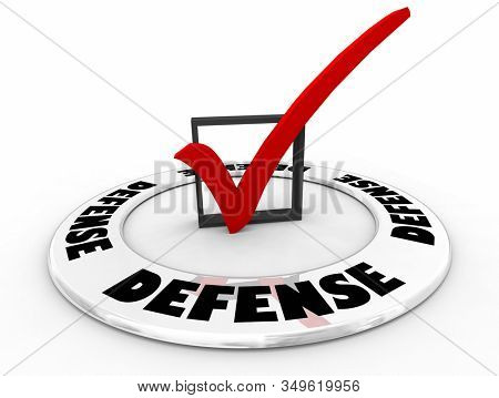 Defense Check Mark Box Defensive Plan Defence Strategy 3d Illustration