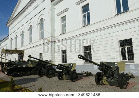 Ryazan, Russia - October 21, 2017:artillery Cannons At The Entrance To The Museum Of The History Of