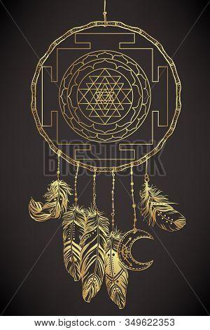 Dream Catcher With Sri Yantra Or Sri Chakra Inside. Form Of Mystical Diagram, Shri Vidya School Of H