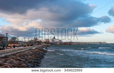 Tallinn, Estonia - January 4, 2020: View Of The Port Of Tallinn From The Boardwalk Along Pirita Stre