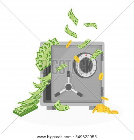 Money Falls Out Of The Ajar Safe. Banknotes Fall From Above, Fly From The Sky. Abundance And Wealth.