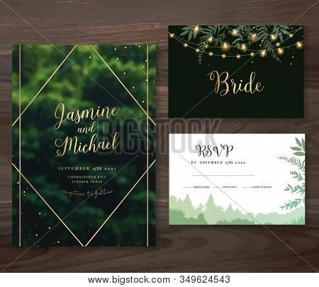 Emerald Greenery Forest Foliage Vector Backgrounds. Green Trees Wedding Invitations. Summer Leaves C