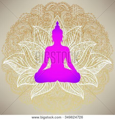 Buddha Over Sri Yantra Or Sri Chakra, Form Of Mystical Diagram, Shri Vidya School Of Hindu Tantra Sy