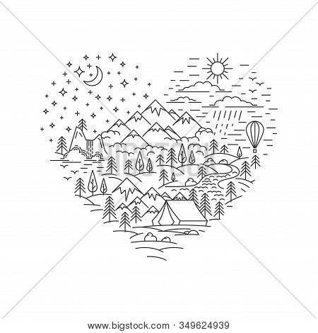 Day And Night Landscape In Heart Shape. Heart Shape Banner For Nature Traveling In Line Style. Love