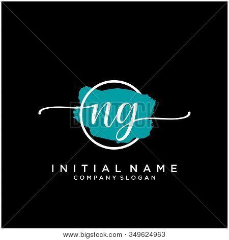 Ng Initial Handwriting Logo Design With Brush Circle. Logo For Fashion,photography, Wedding, Beauty,