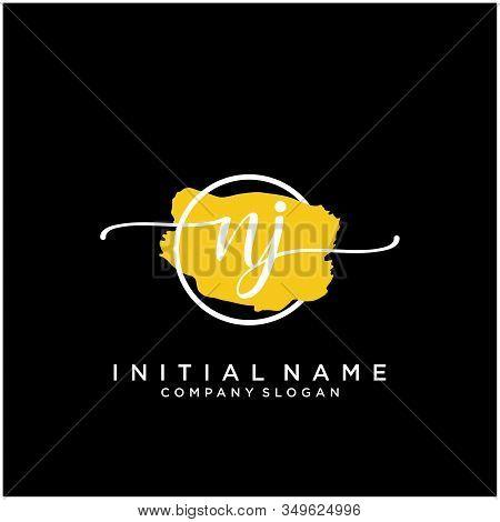 Nj Initial Handwriting Logo Design With Brush Circle. Logo For Fashion,photography, Wedding, Beauty,