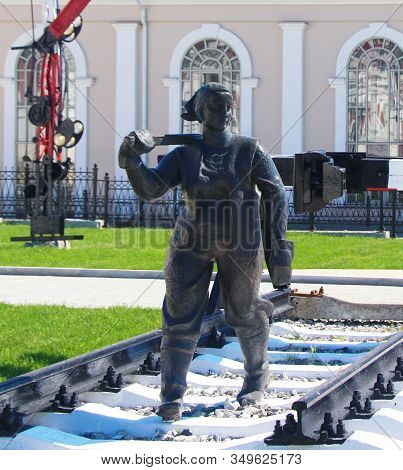 Yekaterinburg, Russia - September 30, 2019: Sculpture Of A Woman Railroader. The Museum Of History O