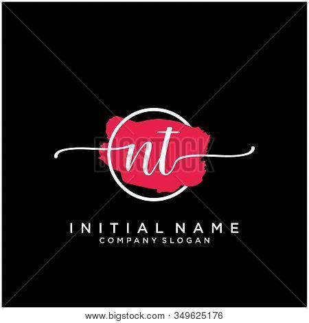 Nt Initial Handwriting Logo Design With Brush Circle. Logo For Fashion,photography, Wedding, Beauty,