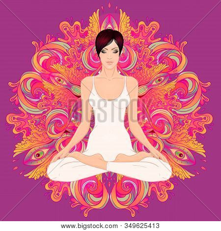 Beautiful Caucasian Brunette Girl Sitting In Lotus Pose With Ornate Mandala On Background. Vector Il