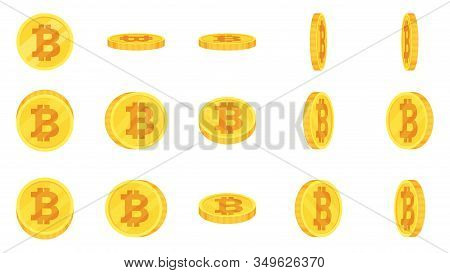 Sprite Sheet Of Gold Bitcoin Coins Rotation. Coin Turn Around, 2d Animation For Game And Apps. Flat