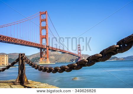 View Of The Beautiful Golden Gate Bridge.