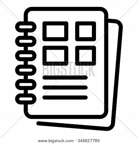 Polygraphy Notebook Icon. Outline Polygraphy Notebook Vector Icon For Web Design Isolated On White B