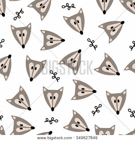 Seamless Background With Cute Foxes Or A Wolf. Outpost Postcards, Invitations, Parties, Banners, Kin