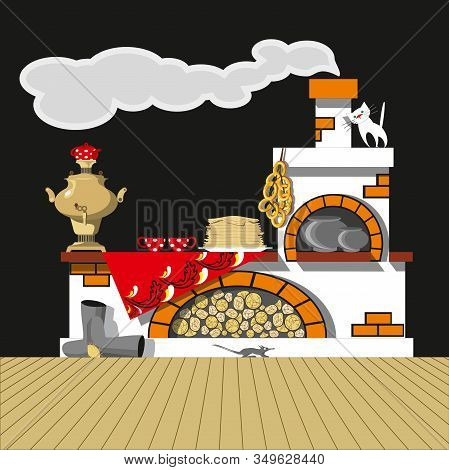 Russian Oven, Samovar, Pancakes, Bagels, Felt Boots. Vector Set For Decoration Of The Russian Holida