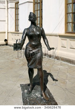 Yekaterinburg, Russia - September 30, 2019: Sculpture Of A Woman Train Conductor. The Museum Of Hist