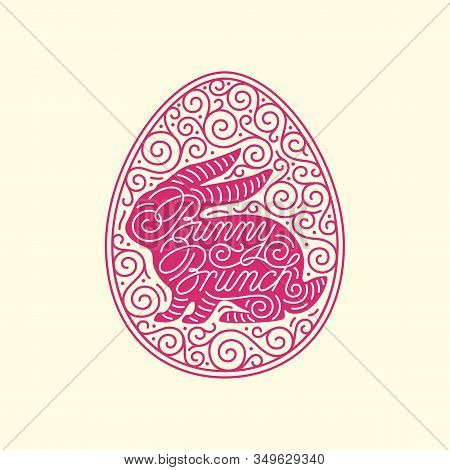 Bunny Brunch Lettering With Bunny Silhouette And Linear Egg Ornate Frame. Vector Illustration.