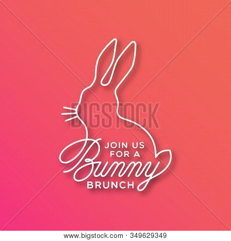 Bunny Brunch Linear Lettering With Bunny Silhouette For Card, Invitation, Poster, Banner Template. V