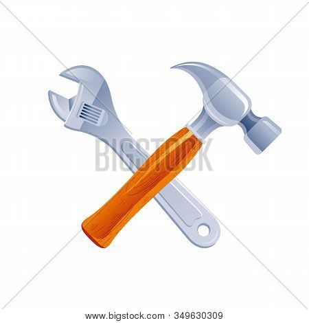 Hammer And Wrench Tools Cross, Cartoon Icon. Realistic Hammer Tool And Metal Wrench Key Working Kit.