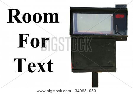 Newspaper box. Generic Newspaper or Magazine box. Isolated on white. Room for text. Clipping Path. Newspapers and magazines are still sold and given away for free to customers world wide. Periodicals