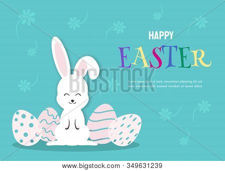 Happy Easter holiday Illustration - White Rabbit Bunny on Blue Background. Happy Easter holiday,easter bunny holiday, easter background, easter design holiday. Vector easter illustration.